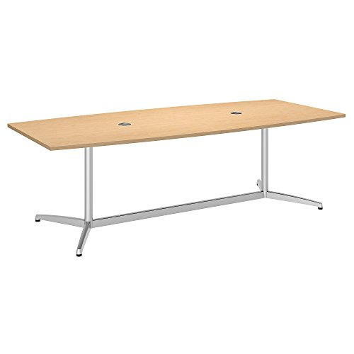 Bush Business Furniture 96W x 42D Boat Shaped Conference Table with Metal Base in Natural Maple ()