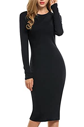 Meaneor Women's Cotton Stretchy Long Sleeve Scoop Neck Bodycon Party Midi Dress Black S