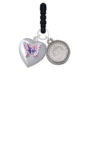 Pink & Purple Butterfly Locket Nevertheless She Persisted Phone Charm (Beauty Butterfly Locket)