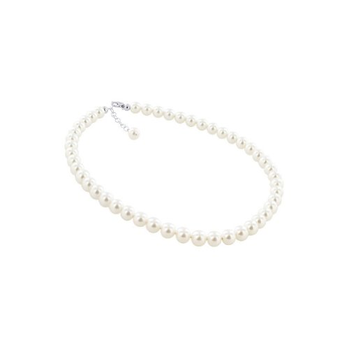 Gem Avenue Sterling Silver 8mm Simulated White Pearl Necklace 20 inch Made with Swarovski (Pure White Swarovski Pearls)
