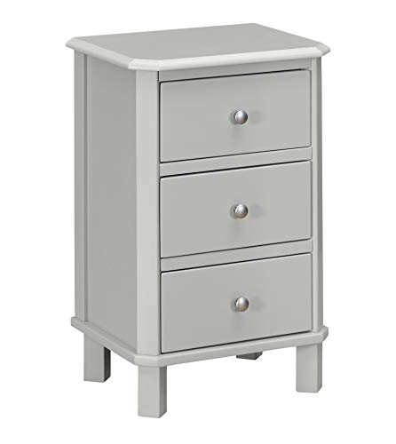 Ravenna Home Naomi 3-Drawer Storage End Table, 17.7 W, Grey