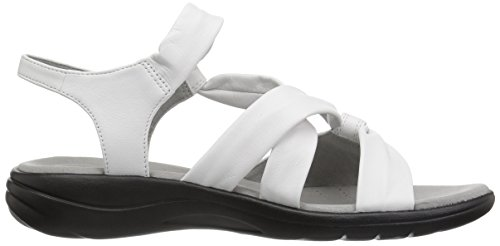 CLARKS Womens Saylie Moon Sandal, White Leather, 11 Medium US