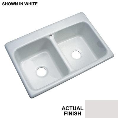 Newport Drop-in Acrylic 33x22x9 3-Hole Double Bowl Kitchen Sink in Almond