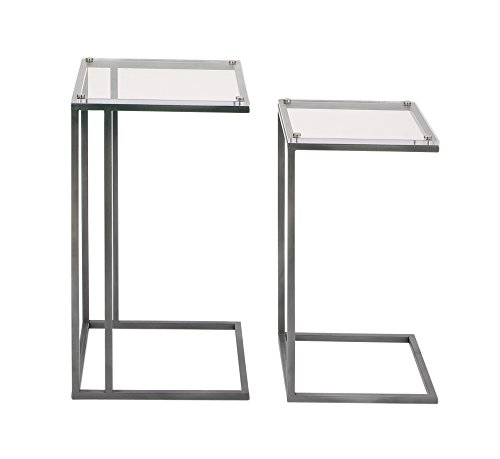 Benzara Antique Colonial Wonderful Metal Acrylic Accent Table Set of 2 26