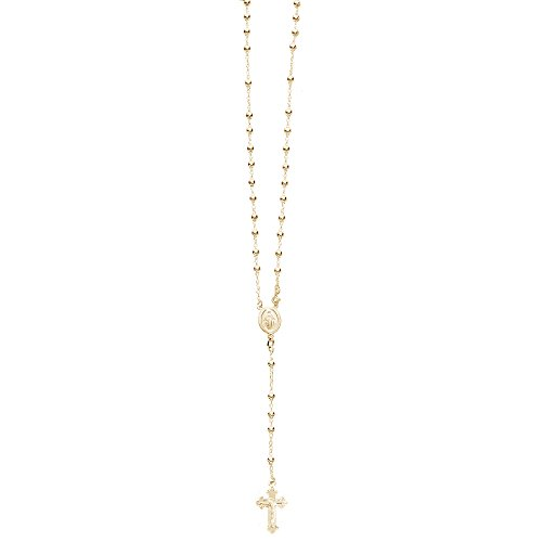 Ritastephens Sterling Silver Gold-tone Rosary Bead Necklace Virgin Mary Cross Made in Italy (18 - Chain Gold Rosary