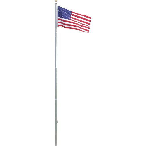 Super Tough Heavy Duty 20 Foot Residential Flagpole and US Made Valley Forge Nylon Flag ()