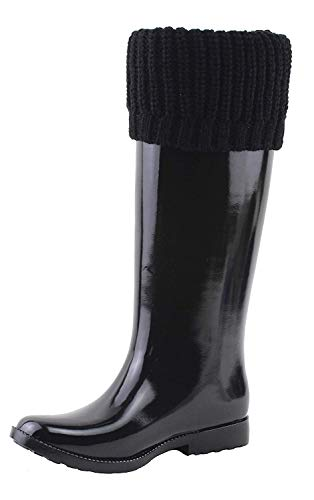 Michael Michael Kors Womens Mandy Rainboot Round Toe Knee High, Black, Size 6.0 ()