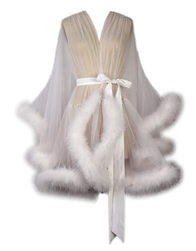 Sexy Feather Bridal Robe Tulle Illusion Short Wedding Scarf New Custom Made ... (Short-Ivory)]()