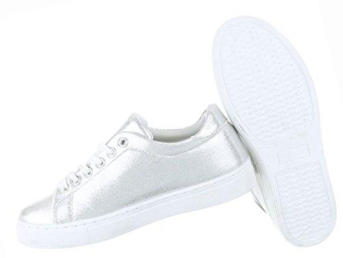 Damen Schuhe Freizeitschuhe Sneakers Turnschuhe Sportschuhe Schwarz Silber