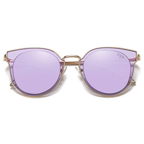 SOJOS Fashion Round Polarized Sunglasses for Women UV400 Mirrored Lens SJ1057 with Gold Frame/Purple Mirrored Lens