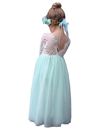 2Bunnies Girl Peony Lace Back A-Line Straight Tutu Tulle Party Flower Girl Dresses (Mint Maxi, 7/8)