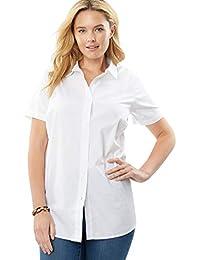 5174e1a92d9 Women s Plus Size Perfect Short Sleeve Button Down Shirt