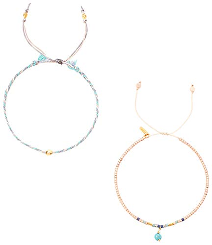(Chan Luu Women's Set of 2 Pull Cord Beaded Bracelet Muscat Mix One Size)