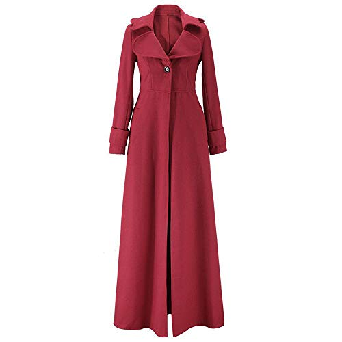 lin Hauts Laine Élégance Manches Femmes Couleur Imitation Mode Longues Vadrouille Cardigan Outwear Slim fit coats Rouge Trench À Ladies Revers Unie Day Casual Vin dwaI86qd