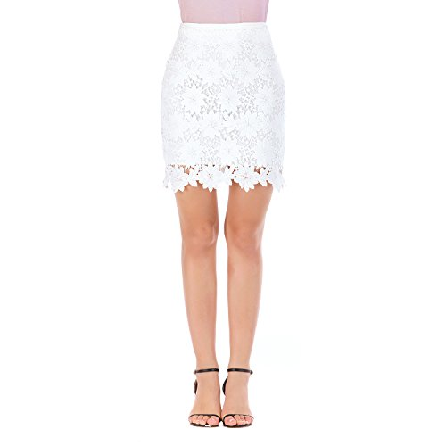 - Lure&younth Women's Summer Water Soluble Hollow lace Skirt high Waist Half Skirt (Small, White)