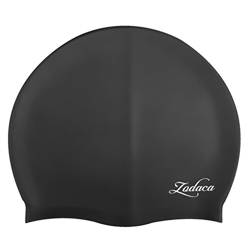 Zodaca Premium Solid Silicone Elastic Flexible Durable Waterproof Swimming Hat Comfortable Swim Cap for Junior Kids / Children / Boys / Girls, (Cutout Swimming Costume)