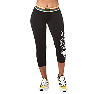 Zumba Fitness Wide Jacquard Waistband Workout Print Capri Leggings for Women, BB Black, M
