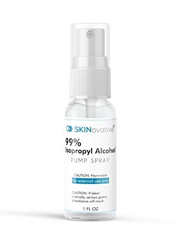 SKINovative 99% Isopropyl Alcohol Spray 1 Oz Derma Roller Sterilizer - Microneedling Cleaning and Sterilizing Solution - Kills Bacteria on Contact - Safer Micro Needling ()