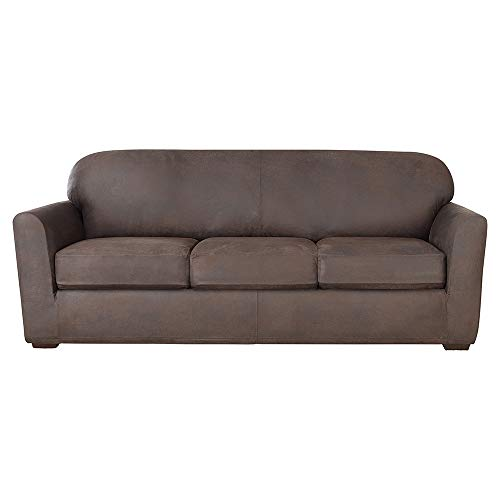 Sure Fit Ultimate Heavyweight Stretch Leather Slipcover (Weathered Saddle, 3-Seat Box Cushion Sofa)