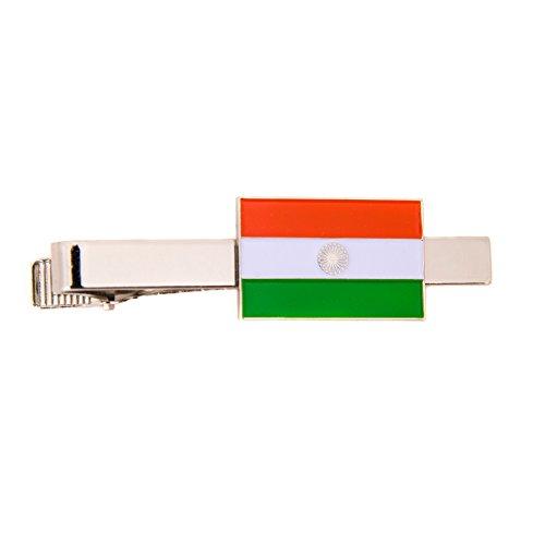 Desert Cactus India Country Rectangle Flag Tie Bar Made of Metal Souvenir - India Tie