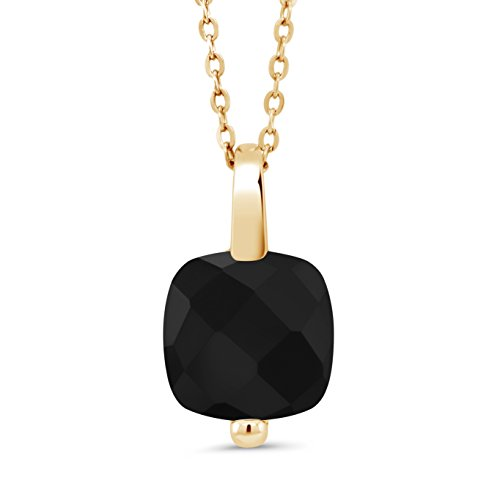 Gem Stone King 18K Yellow Gold Plated Silver Checkerboard Black Onyx Pendant Necklace With 18 Inch Chain 3.60 Ctw