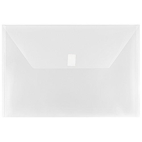 - JAM PAPER Plastic Envelopes with Hook & Loop Closure - Legal Booklet - 9 3/4 x 14 1/2 - Clear - 12/Pack