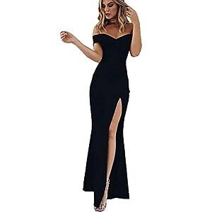 090d47209bd5 PRETTYGARDEN Women s 2018 Off Shoulder Side Split Slim Evening Maxi Party  Dress ...