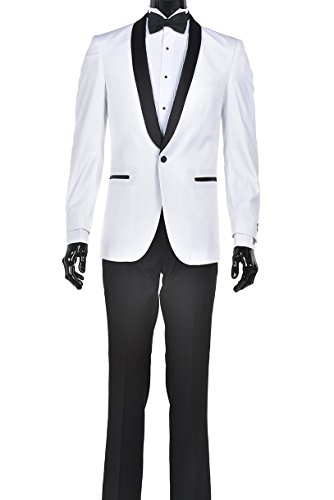Modern Luxury Prom Suits (40 Regular, White with Black Shawl Lapel with Black Pants)