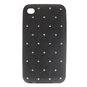 LZX Rhombus Pattern with Diamond Silicone Soft Case for iPod touch 4 (Assorted Colors) , Black