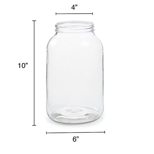 2 Pack - 1 Gallon Glass Jar w/Plastic Airtight Lid, Muslin Cloth, Rubber Band - Wide Mouth Easy to Clean - BPA Free & Dishwasher Safe - Kombucha, Kefir, Canning, Sun Tea, Fermentation, Food Storage by 1790 (Image #2)