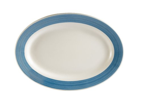 (CAC China R-51-BLUE Rainbow Rolled Edge 15-1/2-Inch by 10-Inch Blue Stoneware Oval Platter, Box of 12)