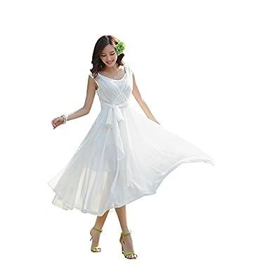 Ilishop Women's Sleeveless Pleated Prom Party Chiffon Hot Summer Long Dress White M