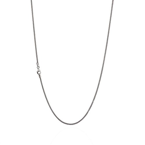 925 Sterling Silver 1.30 mm Spiga-Wheat Chain Necklace with Pear Shape Clasp-Rhodium Finish