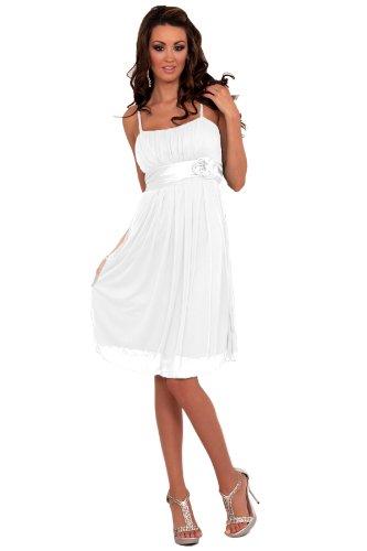 Nuovo design pieghettato da sera, H1119 da Cocktail, colore: bianco, taglia: L (12-14)