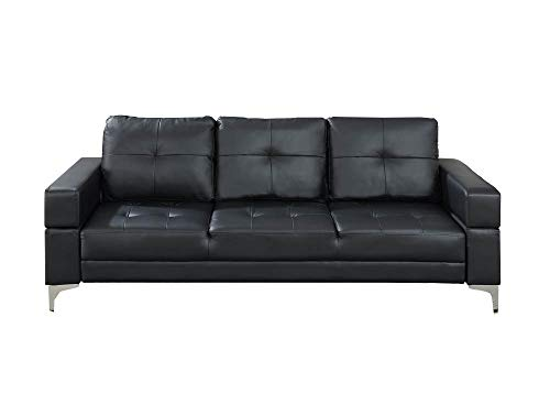 Benzara BM167229 Polyurethane Adjustable Sofa with Movable Armrest