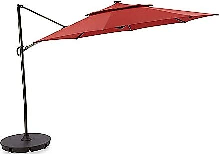 Destination Summer Outdoor Patio Cantilever Umbrella 11 Foot Round Canopy with Solar Powered Lights Includes Base and Storage Cover (Salsa) (Furniture Stores Denver Outdoor)
