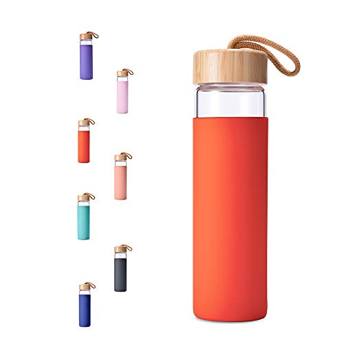 Yomious Borosilicate Glass Water Bottle with Bamboo Lid and Silicone Sleeve - 20 oz – BPA Free – Eco Friendly and Reusable – Leak Proof Design – Carry Strap Built Into Lid (Cherry Tomato) ()