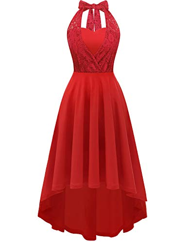 (YOYAKER Floral Lace Halter Evening Cocktail Party Dress Hi-lo Wedding Bridesmaid Dress Red 2XL)
