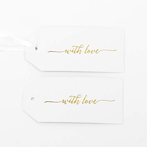 - Andaz Press Favor Tags Gold Foil with Love Gift Tags, in Bulk 100 Pack on Thick White Paper Board with String Ribbon for Wedding, Baby Shower, Birthday, Thank You, Bridal Shower, Christmas