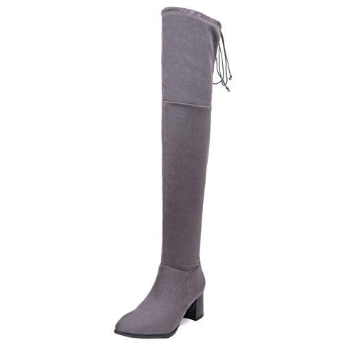 COOLCEPT Damen Stiefel Half Zipper Gray