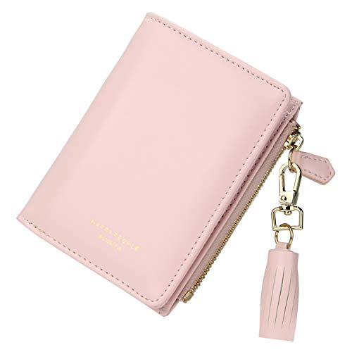 TJEtrade Wallets for Women Leather Zipper Bifold Card Holder Coin Purse Small