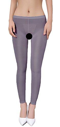 Zukzi Womens Sexy Lingerie See Through Leggings Sheer Leggings Multi-Colors, Dark Grey, Crotchless, ()