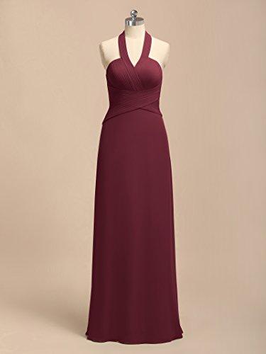 Alicepub Robes Maxi De Demoiselle D'honneur Licol Pour Les Femmes Longues Robes De Soirée Robe De Bal De Fête Officielle Bourgogne
