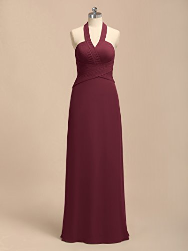 Women Alicepub Burgundy Evening Dresses Party Gowns Halter for Bridesmaid Long UWW7SpgO