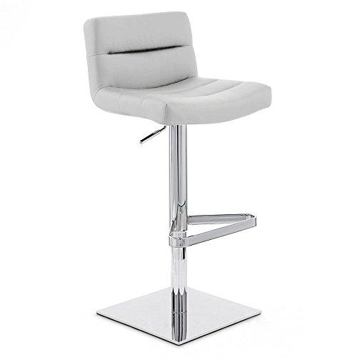 Zuri Furniture Grey Lattice Square Base Adjustable Height Swivel Armless Bar Stool