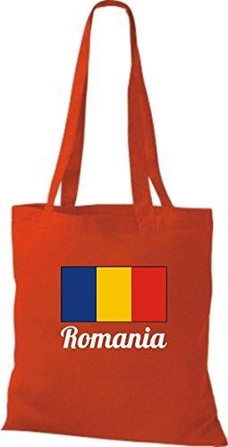 ShirtInStyle Bolso de tela Bolsa de algodón Yute de país Rumania Rumania - azul marino, 38 cm x 42 cm Rojo