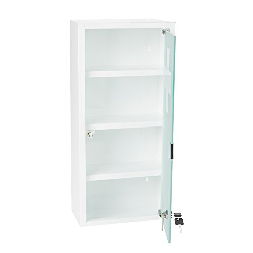 Mind Reader 4 Tier Medicine Cabinet, Freestanding or or Wall Mount, Storage Shelf, White ()