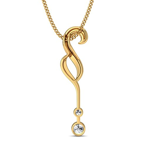 18 K Or jaune 0,26 CT TW Round-cut-diamond (IJ | SI) Pendentif