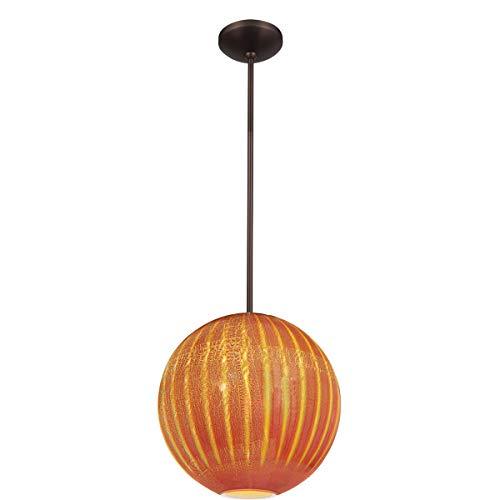 Access Lighting 23640-BRZ/SARO Safari Opaline - One Light Ball Pendant, Bronze Finish with Silver Amber Ribbed Opaline Glass