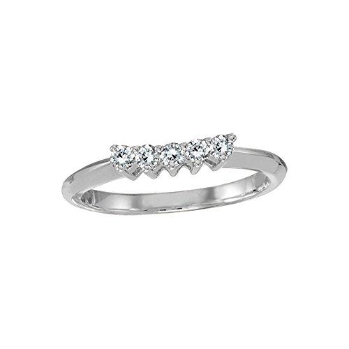 0.25 Carat (ctw) 14k White Gold Round Diamond Curved Contoured Wedding Anniversary Band Wrap Wedding Bands - Size 7